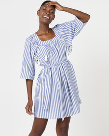 Utopia A-line Dress With Lace Up Detail Blue/White Stripe