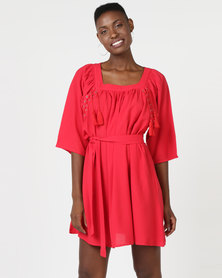 Utopia A-line Dress With Lace Up Detail Red