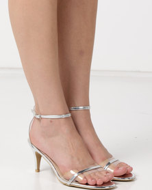 Utopia Kitten Heels Barely There Silver