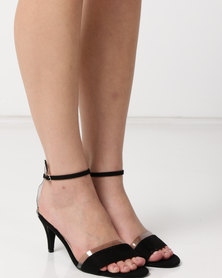Utopia Faux Suede Heel Sandals Black