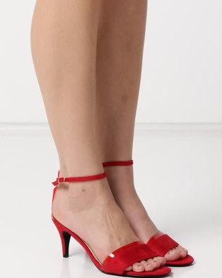 Utopia Faux Suede Heel Sandals Red