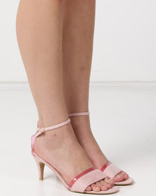 Utopia Faux Suede Heel Sandals Pink