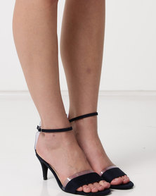 Utopia Faux Suede Heel Sandals Navy