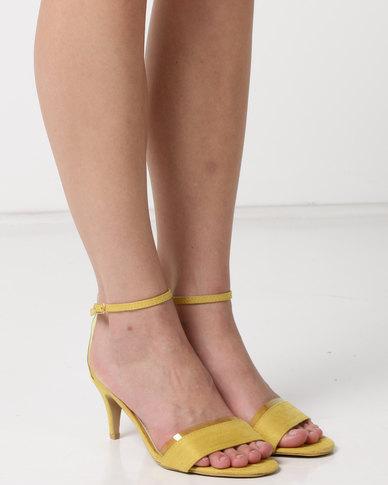 Utopia Faux Suede Heel Sandals Yellow