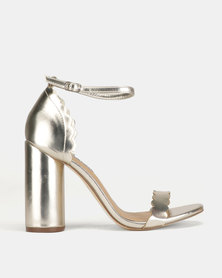 Madison Liz Cylindrical Scalloped Sandals Gold