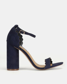 Madison Liz Cylindrical Scalloped Sandals Blue