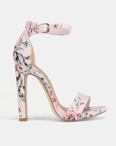Madison Tiara Clean Ankle Strap Heeled Sandals Blush Floral