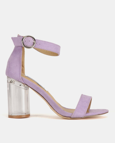 Madison Jenny Lucite Block Heel Sandals Lavender