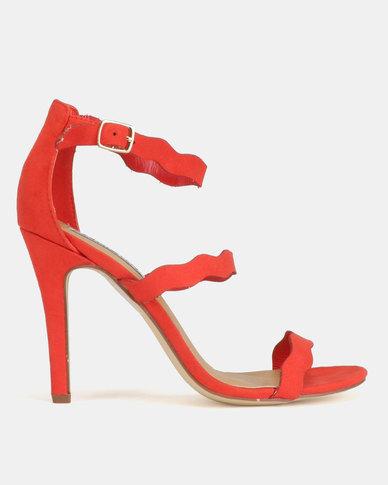 Madison Joelle Tri Strap Stiletto Sandals Red
