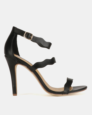 Madison Joelle Tri Strap Stiletto Sandals Black