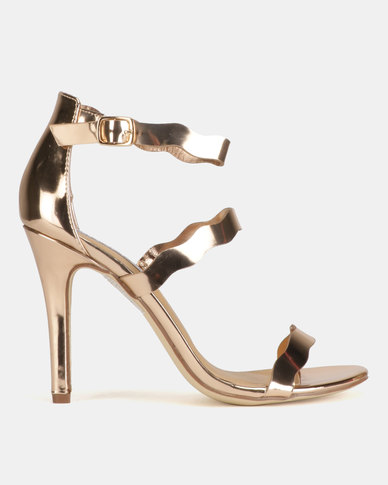 Madison Joelle Tri Strap Stiletto Sandals Rose Gold
