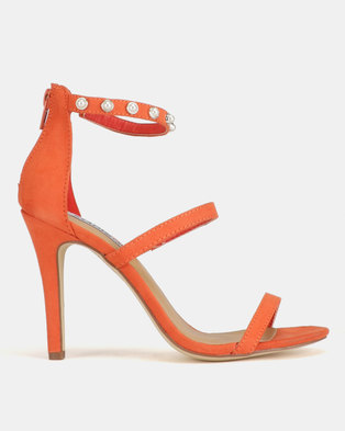 ​Madison Caile Pearl Trim Barely There Heeled Sandals Orange