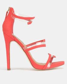 Madison Meagan Vinyl Trim Tri Strap Heeled Sandals Burnt Coral
