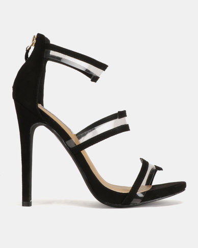 Madison Meagan Vinyl Trim Tri Strap Heeled Sandals Black