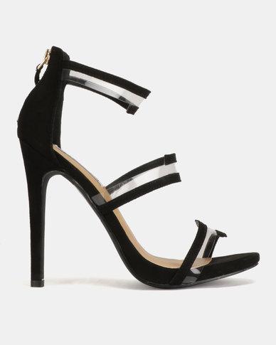 Madison Meagan Vinyl Trim Tri Strap Heeled Sandals Black