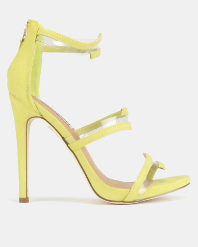 Madison Meagan Vinyl Trim Tri Strap Heeled Sandals Lime