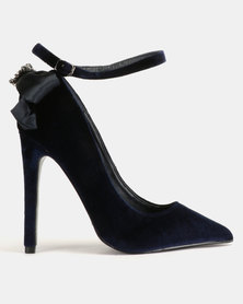 MHNY by Madison Portia Back Bow Pointy Courts Navy