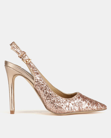 Madison Jubilee Glitter Slingback Pointy Courts Rose Gold