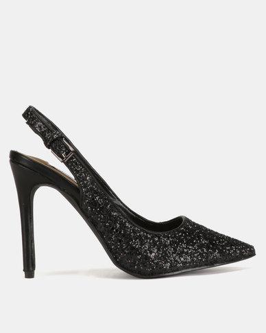 Madison Jubilee Glitter Slingback Pointy Courts Black