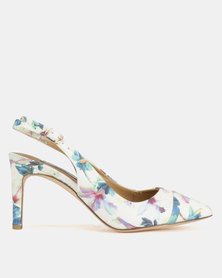 Madison Adrianna Slingback Courts White Floral