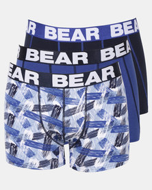 Bear 3PK Hot Dad Print Bodyshorts Blue