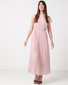 Utopia Pleated Lace Inset Dress Blush