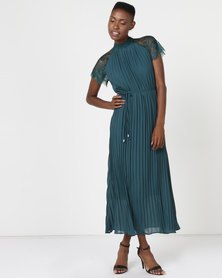 Utopia Pine Green Pleated Lace Inset Dress Green