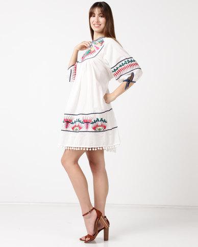 Utopia Embroidered Cotton Tunic White Multi