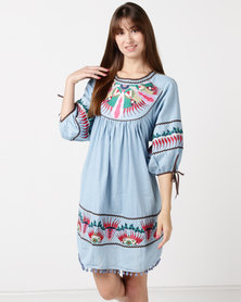 Utopia Embroidered Cotton Tunic Denim Multi