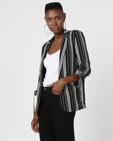 Utopia Stripe Tie Blazer Black/White