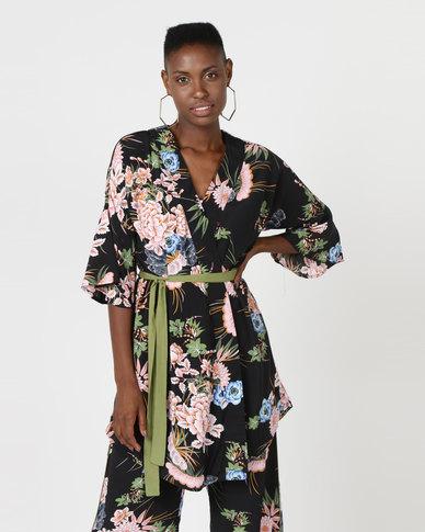 Utopia Print The Volume Sleeve Wrap Kimono Shacket Black