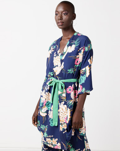 Utopia Print The Volume Sleeve Wrap Kimono Shacket Navy
