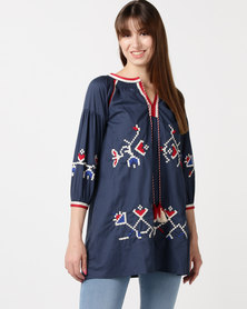 Utopia The Embroidered Tunic Navy