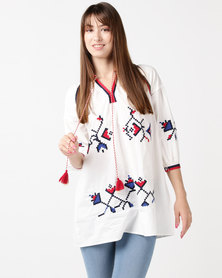 Utopia The Embroidered Tunic White