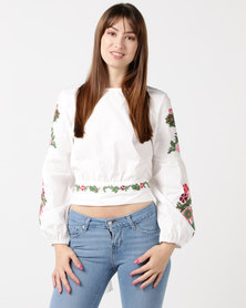 Utopia Volume Sleeve Embroidered Blouse White