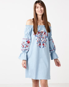 Utopia Bardot Embroidered Dress Denim Blue