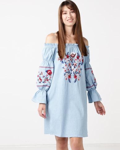 Utopia Bardot Embroidered Dress Denim Blue