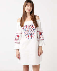 Utopia Bardot Embroidered Dress White