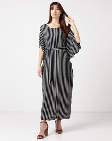 Utopia Stripe Maxi Tunic Dress Black/White