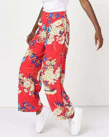 Utopia Print Wide Leg Pants Red