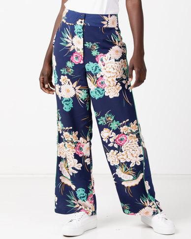 Utopia Print Wide Leg Pants Navy
