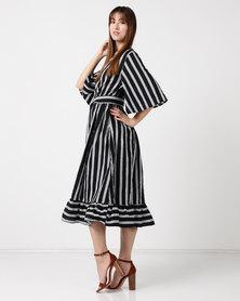 Utopia Stripe Volume Poplin Tier Dress Black/White