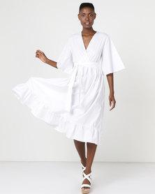 Utopia Volume Poplin Tier Dress White