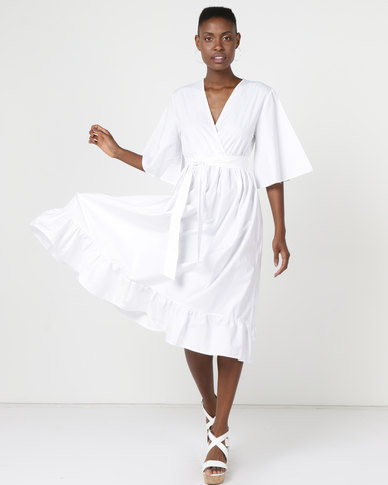 Utopia Volume Poplin Tier Dress White
