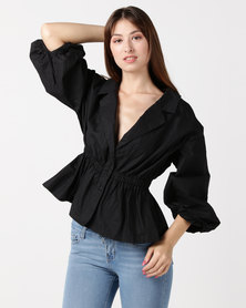 Utopia Volume Button Shirt Black