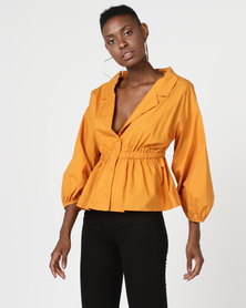 Utopia Mustard Volume Button Shirt