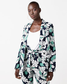 Utopia Tropical Print Blazer Navy