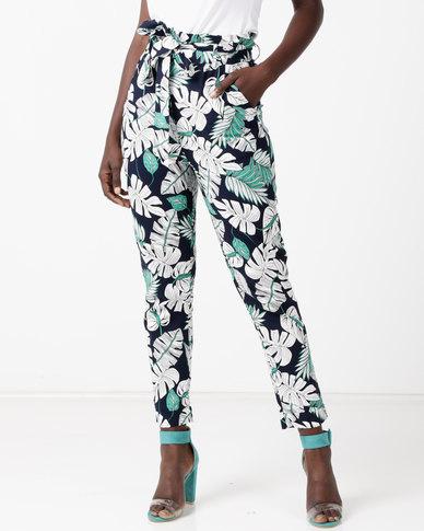 Utopia Tropical Print Trouser Blue