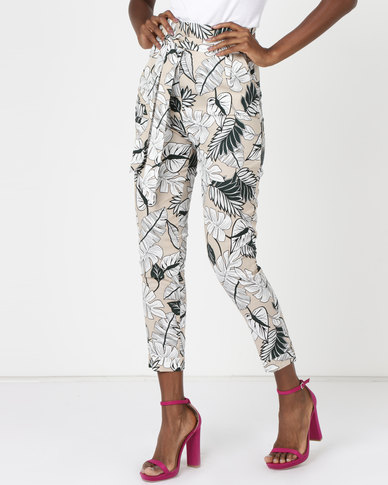 Utopia Tropical Print Trousers Stone