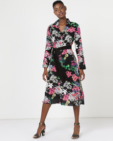 Utopia Tropical Print Shirt Dress With Belt Black Multi